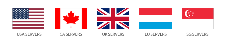Servers in United States, Canada, United Kingdom, Luxembourg, and Singapore