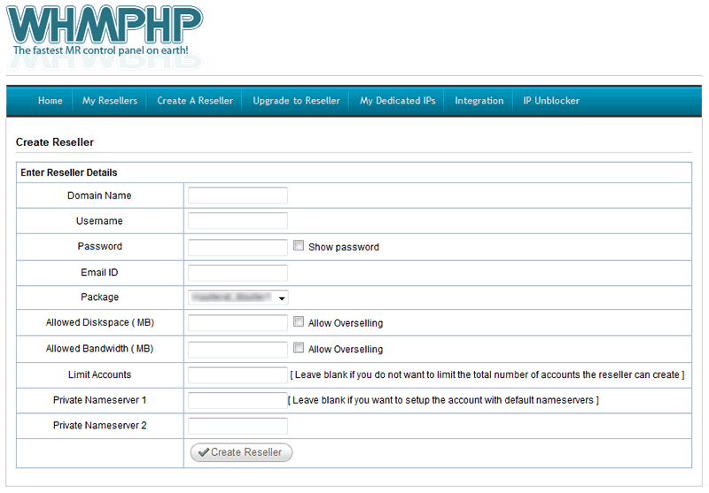 WHMPHP Master Reseller Control Panel